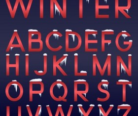 Red alphaber with snow vector
