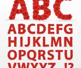 Red flower alphabet vector