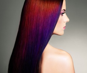 Red long hair woman Stock Photo 01