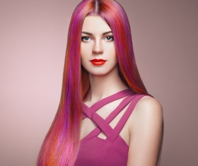 Red long hair woman Stock Photo 02