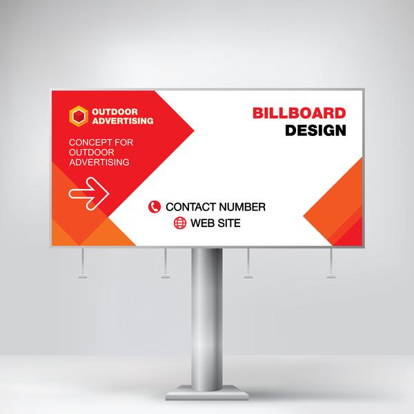 Red Outdoor Advertising Billboard Template Vector 05 Free Download