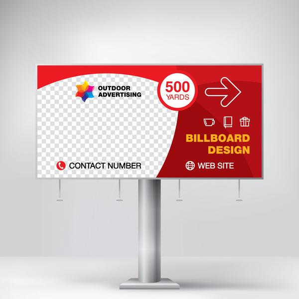 Red Outdoor Advertising Billboard Template Vector 07 Free Download