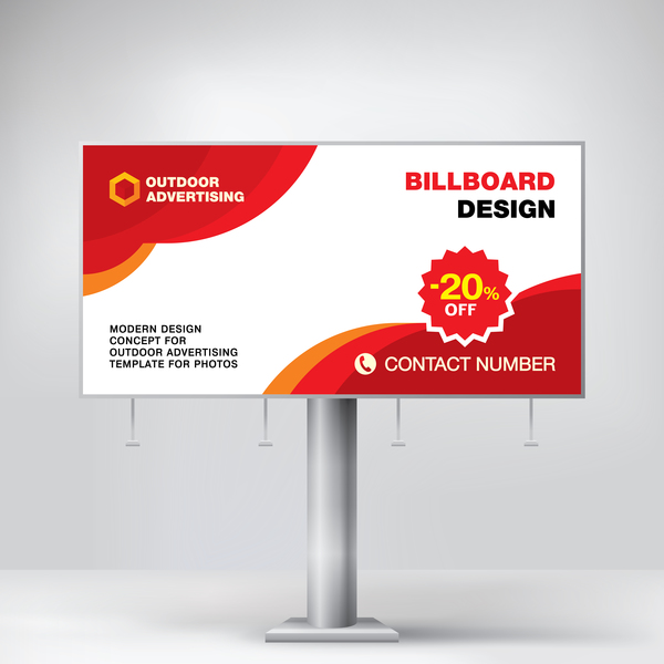Red Outdoor Advertising Billboard Template Vector 09 Free Download