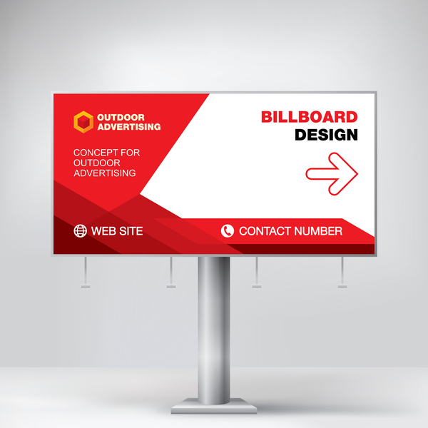 Red Outdoor Advertising Billboard Template Vector 12 Free Download