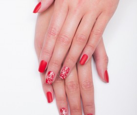 Red painted nail art Stock Photo