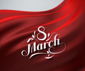 Red satin background with 8 march card vector