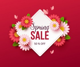 Red spring sale background with flower vector