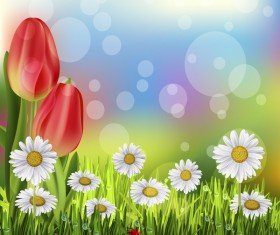 Red tulips with white flower vector background