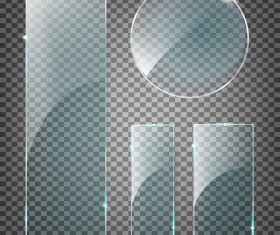 Round and rectangle glass banner vector 01
