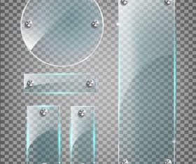 Round and rectangle glass banner vector 02