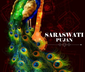 Saraswati pujan festival poster with peacock vector 01