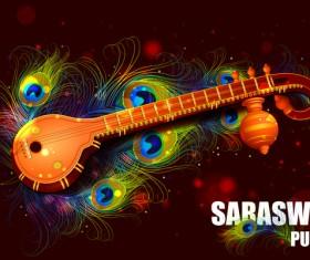 Saraswati pujan festival poster with peacock vector 02