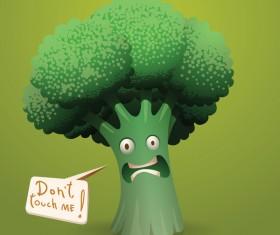 Scared cartoon broccoli vector