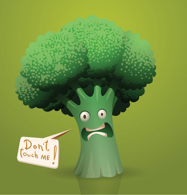 Scared cartoon broccoli vector