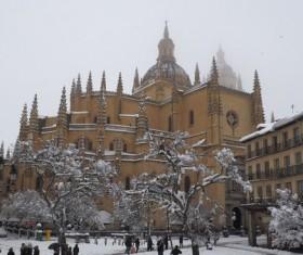 Segovia church snow scene Stock Photo