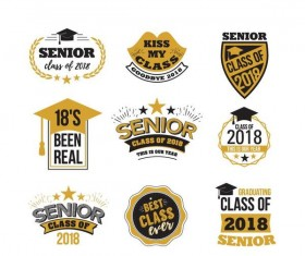 Senior class 2018 labels vector