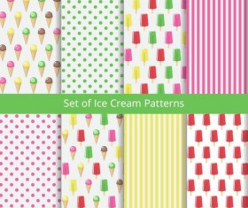 Set ice cream patterns vector material