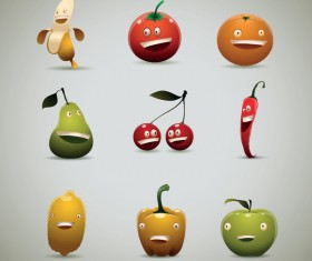 Set of Happy fruits and vegetables vector