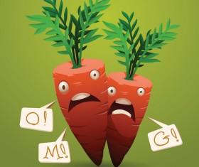 Shocked cartoon carrots vector