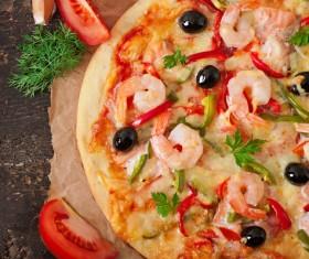 Shrimp vegetable pizza Stock Photo 01