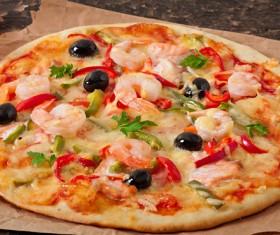 Shrimp vegetable pizza Stock Photo 02