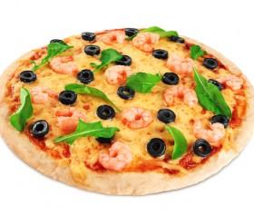 Shrimp vegetable pizza Stock Photo 04