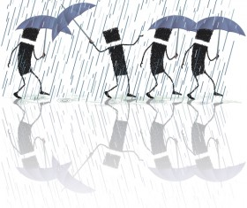 Singing in the rain cartoon vector