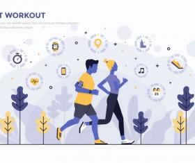 Smart Workout flat business template vector