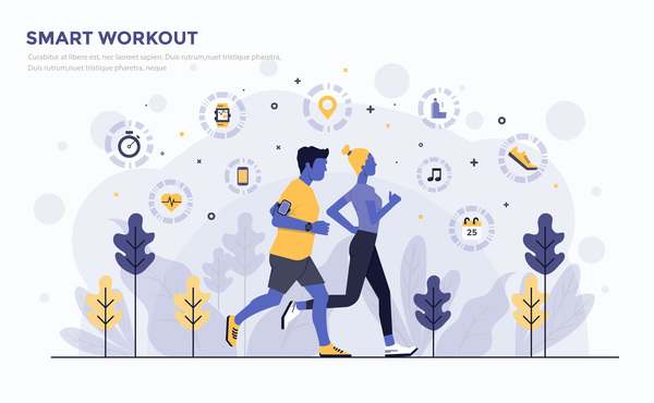 Smart Workout flat business template vector
