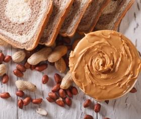 Smear peanut butter chocolate bread Stock Photo 03