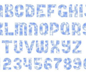 Snow imprinting alphaber with number vector