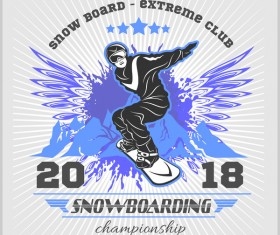 Snowboarding poster template design vector 02