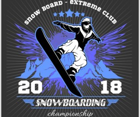 Snowboarding poster template design vector 03
