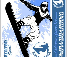 Snowboarding poster template design vector 04