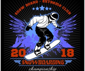Snowboarding poster template design vector 05