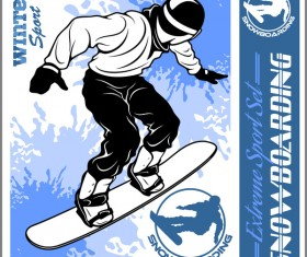 Snowboarding poster template design vector 06