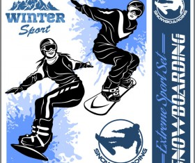 Snowboarding poster template design vector 07