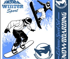 Snowboarding poster template design vector 08