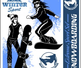 Snowboarding poster template design vector 09