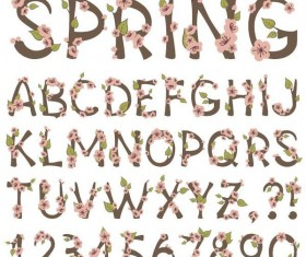 Spring flower alphabet with number vector