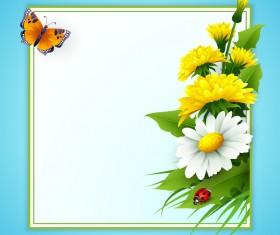 Spring flower frame vectors material 01