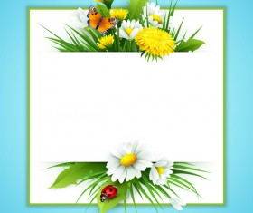 Spring flower frame vectors material 03