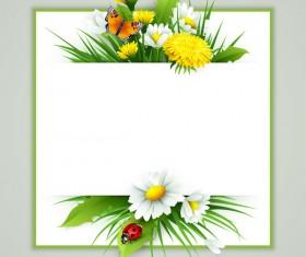 Spring flower frame vectors material 04
