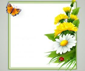 Spring flower frame vectors material 05