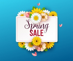 Spring flowers with blue sale background vector 01
