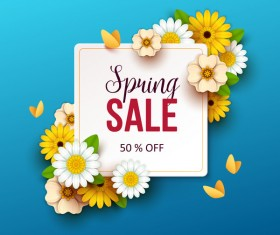 Spring flowers with blue sale background vector 02