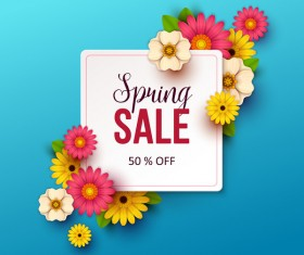 Spring flowers with blue sale background vector 03