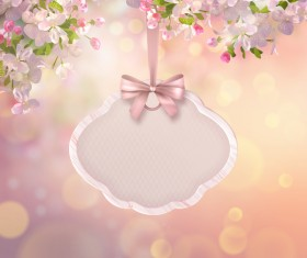 Spring label with flower background vector