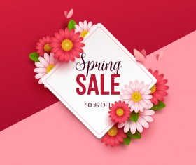 Spring sale background with colored flower vector