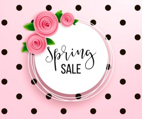 Spring sale round card with pink flower vector